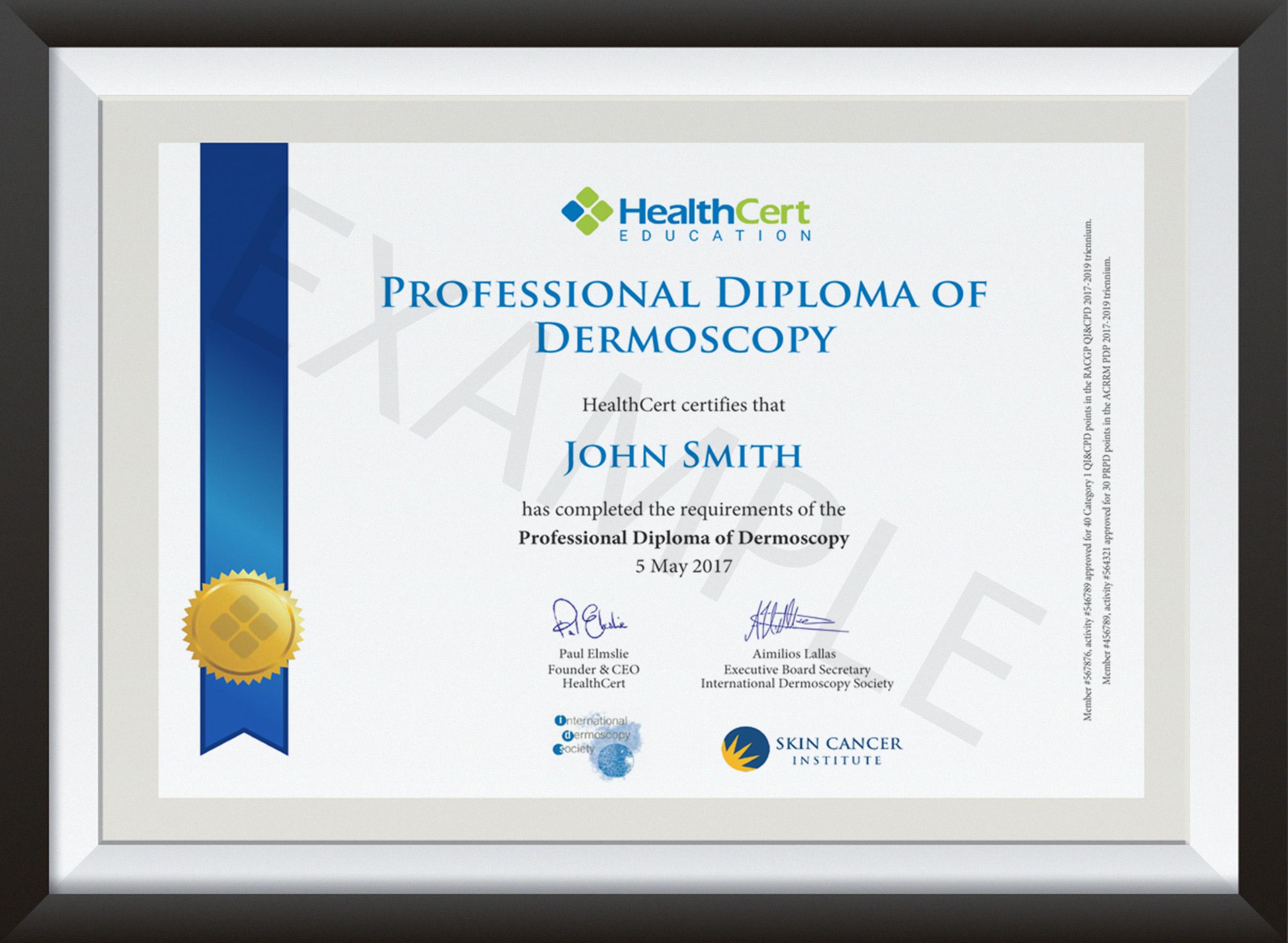 Professional Diploma of Dermoscopy